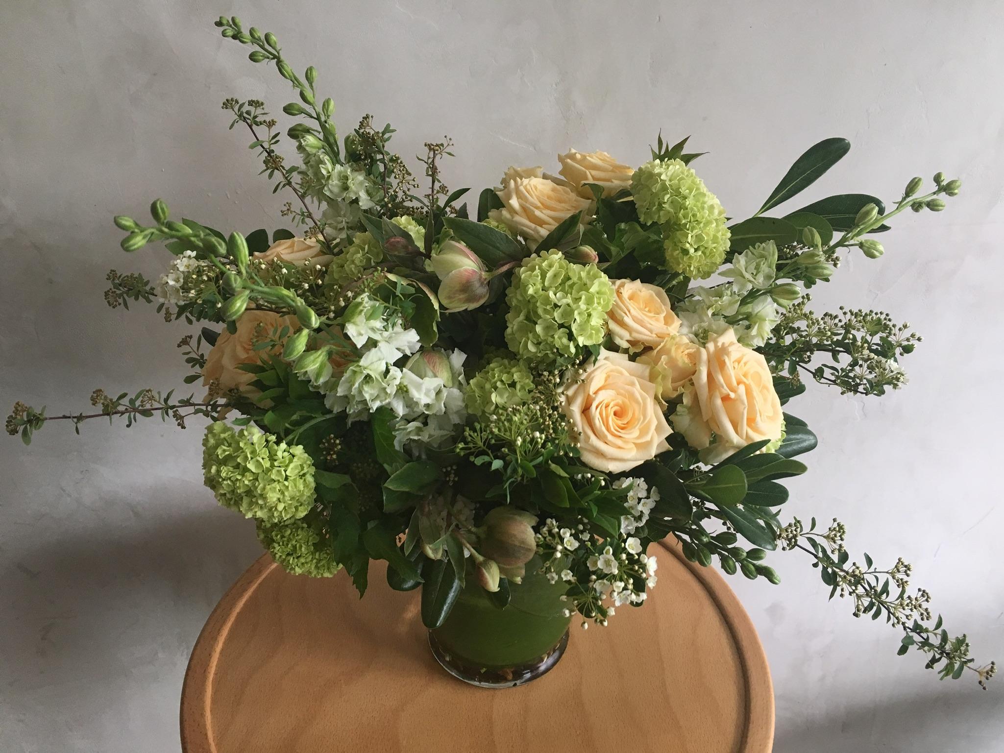 Snowball, buttery Roses, Spiraea, Hellebore.jpg