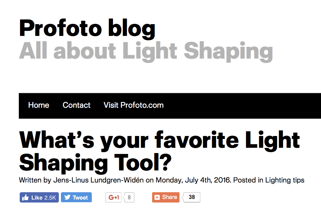 Interview for Profoto:    What's your favorite Light Shaping Tool