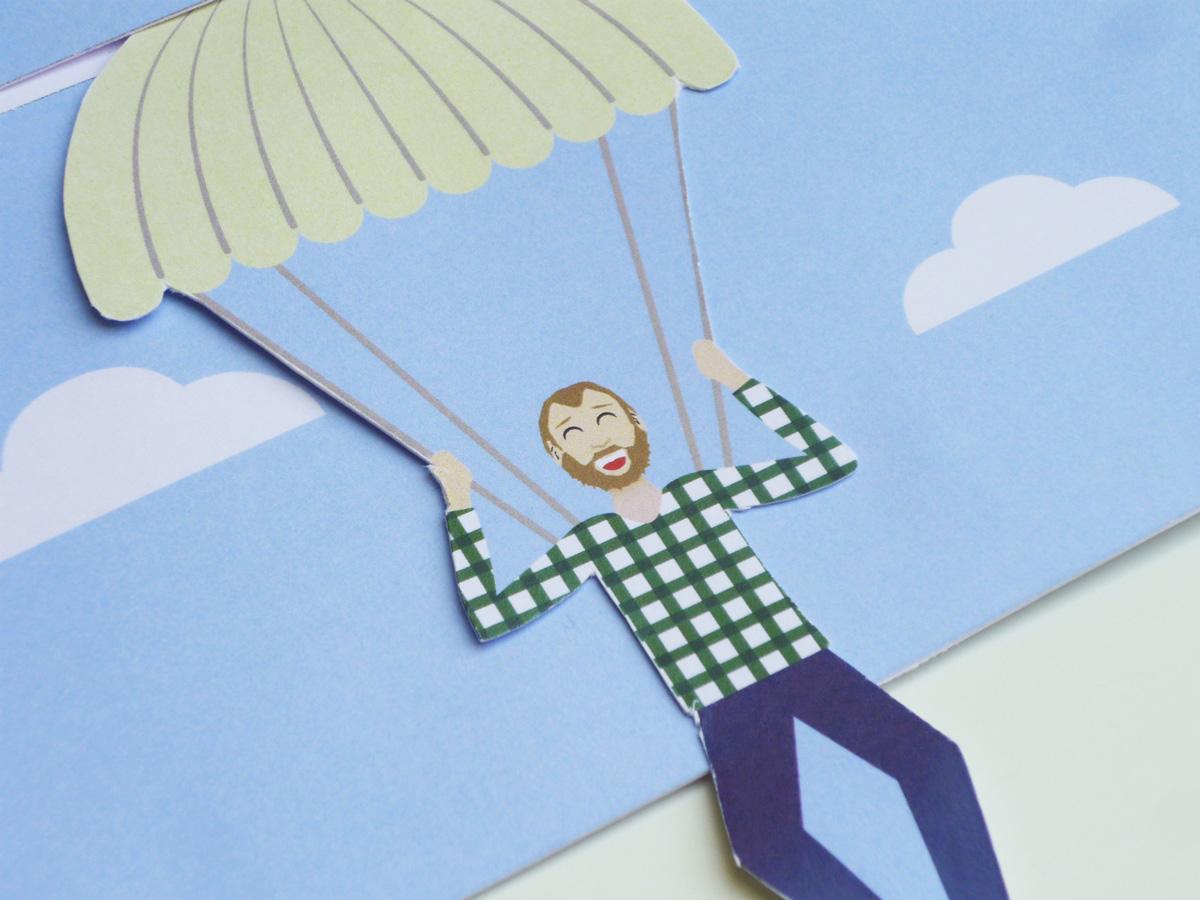 Carte Anniversaire Saut En Parachute.Carte D Anniversaire Surprise Saut En Parachute Camille