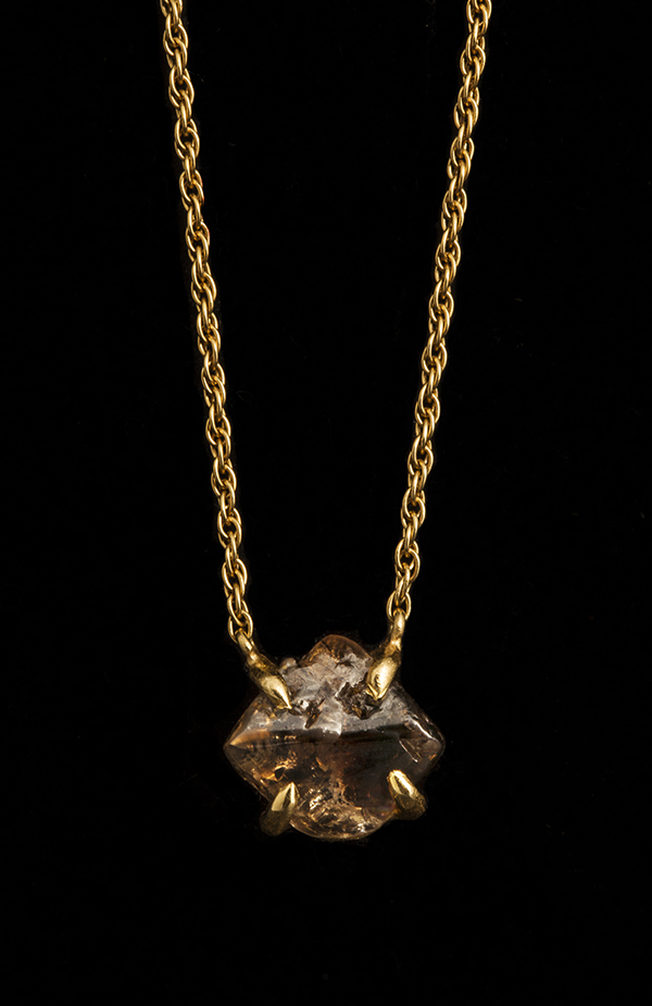 Australian brown diamond on a thick twisted chain necklace.