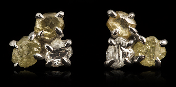Six stacked rough diamonds in white gold earrings.