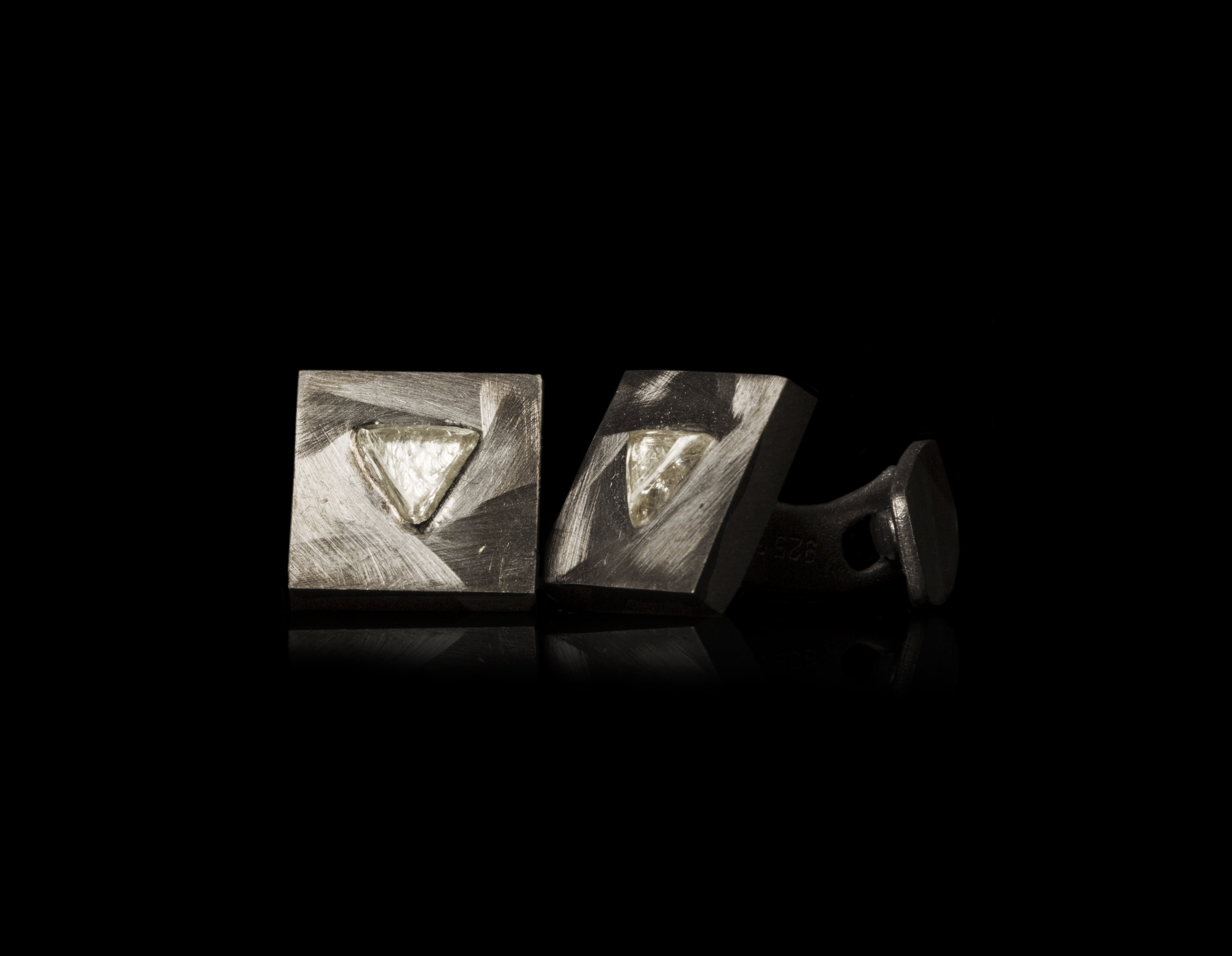 1.38 ct. Natural Triangle Rough diamonds in silver cufflinks.jpg