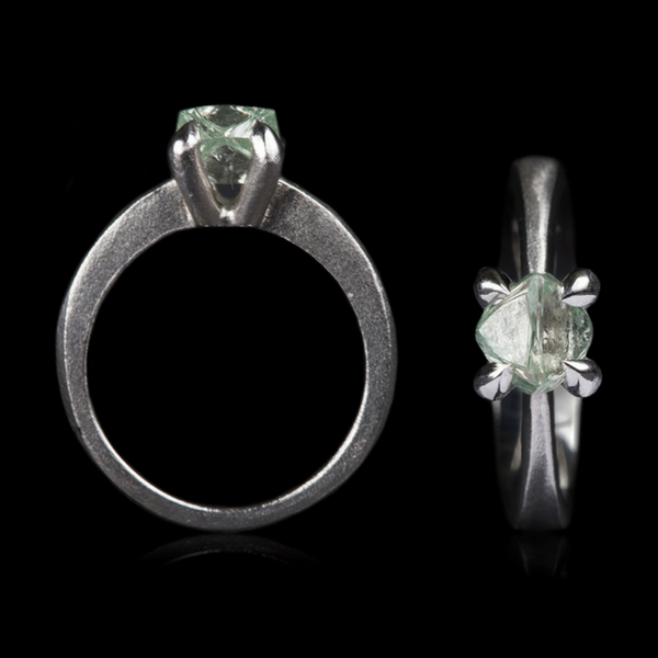 1.59 ct. Natural Fancy Green Rough Diamond in 14K Handcrafted White Gold Ring
