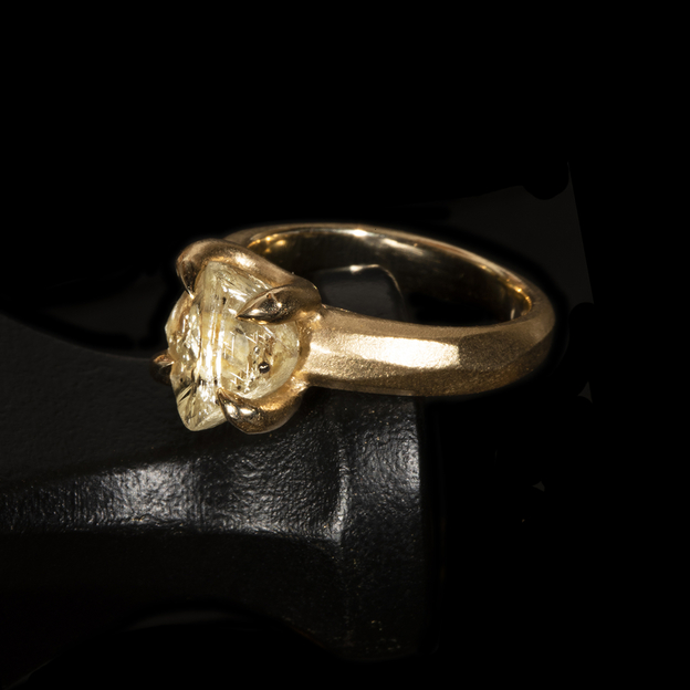 4.94 ct. Natural Yellow Rough Diamond Ring.jpg