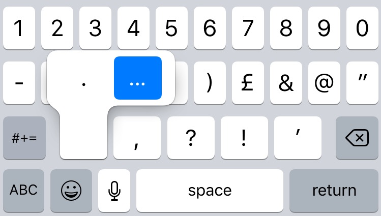 Quick remedy: to insert an ellipsis on an iPhone or iPad press and hold the full stop.