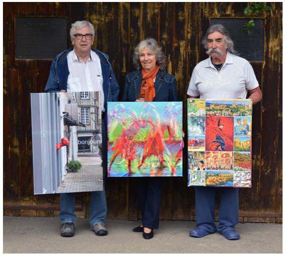 Drei interessante Künstler in der Galerie Klinik Barmelweid: Walter Zimmerli und Peter Bolliger umrahmen Anne-Marie Grenacher.  Bild: Walo Steiner, Densbüren