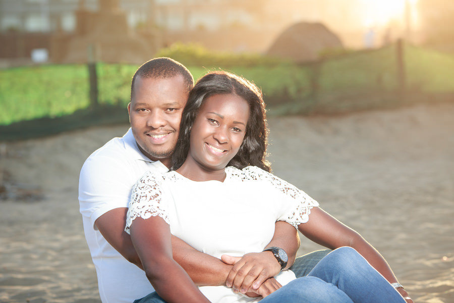 durban photography engagement sitting on beach african