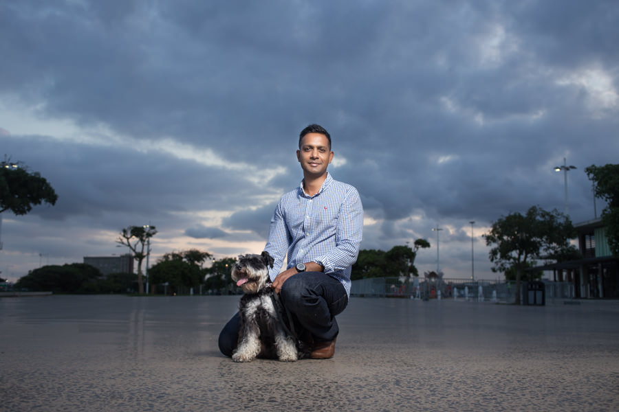 ceo portrait shoot with dog  at moses mabhida durban rbadal photography at