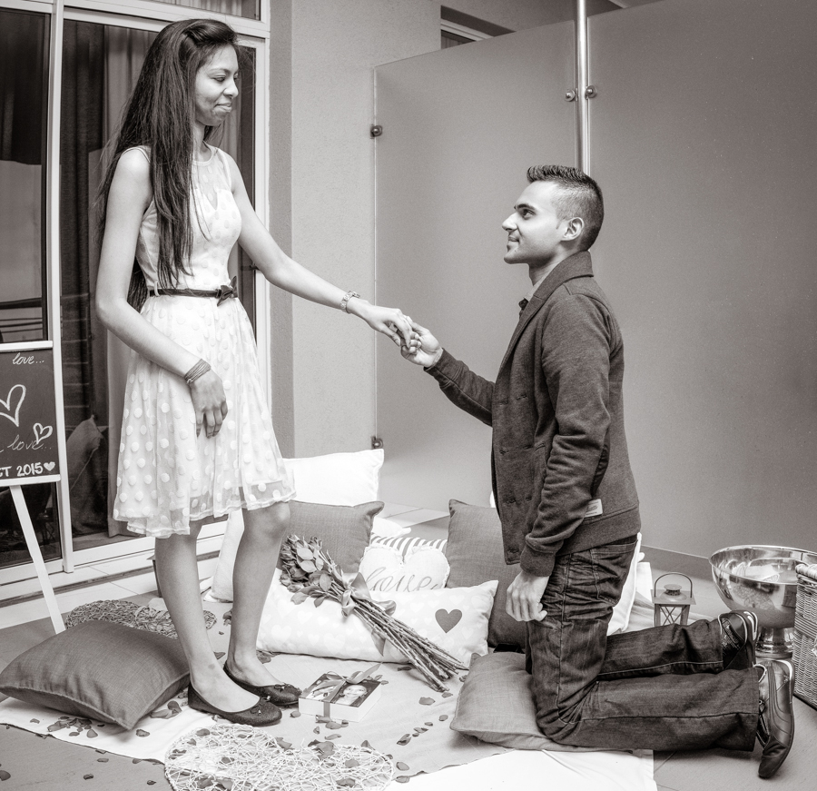 surprise proposal engagement photographs rbadal photography durban down on one knee