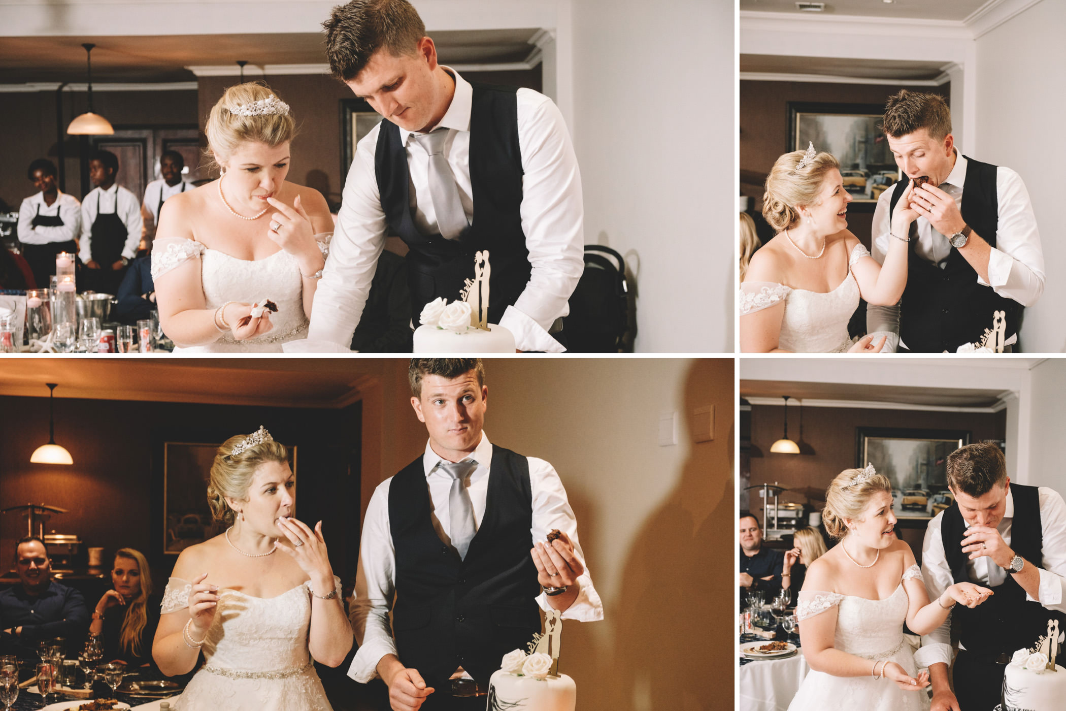 Mount Edgecombe Wedding Photography RBadal golf course bride and groom cutting cake