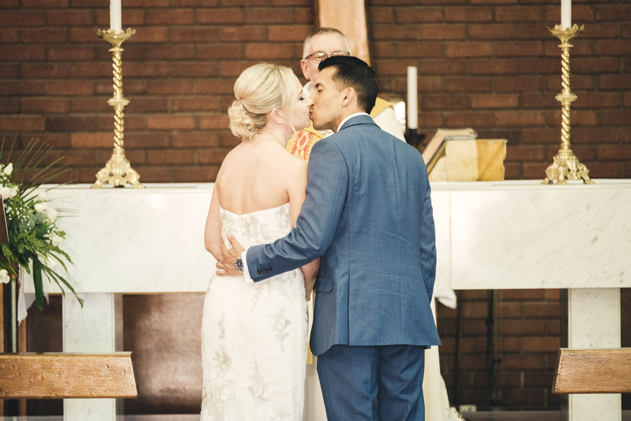 Bluff Wedding Photography Bride and Groom Church First Kiss