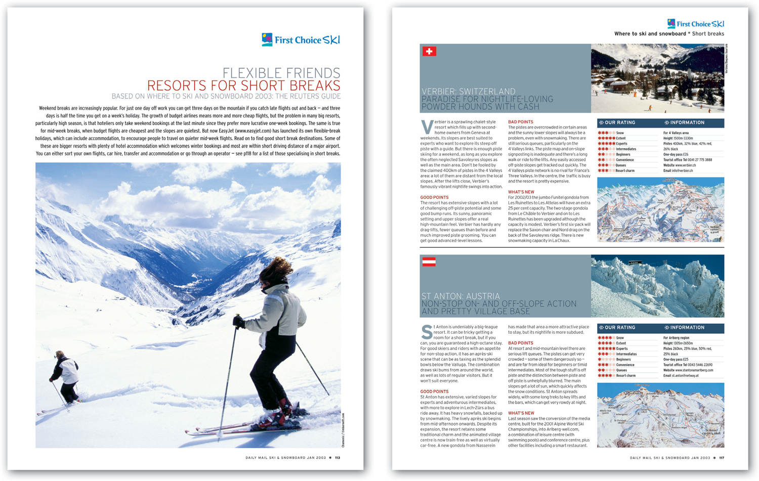 Advertising supplement I designed for First Choice Ski Holidays in conjunction with Daily Mail Ski and Snowboard Magazine