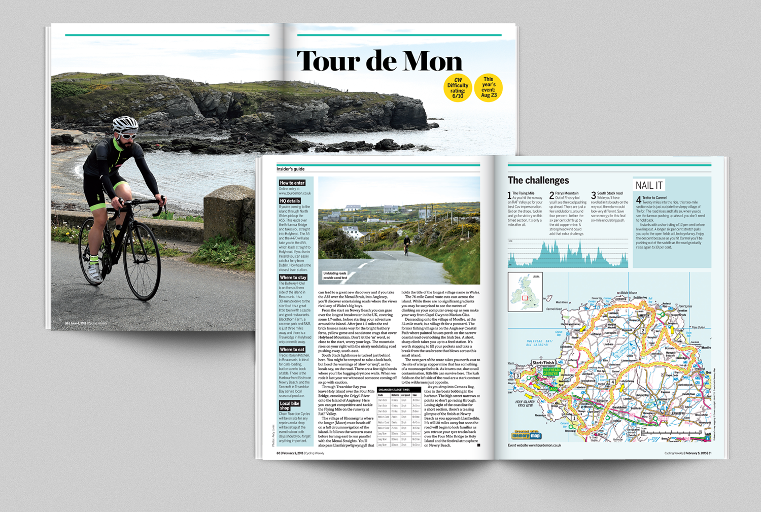 Features showing data are common in the cycling magazines. The graph and table I created in Indesign and the map I plotted in Illustrator on a downloaded map from memory map