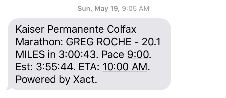 The text from the race tracking service after I passed the 20-mile mark