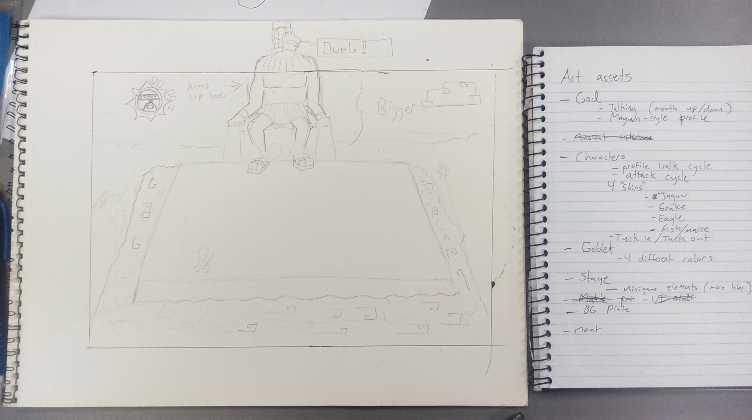 A photo of an early sketch for the level layout