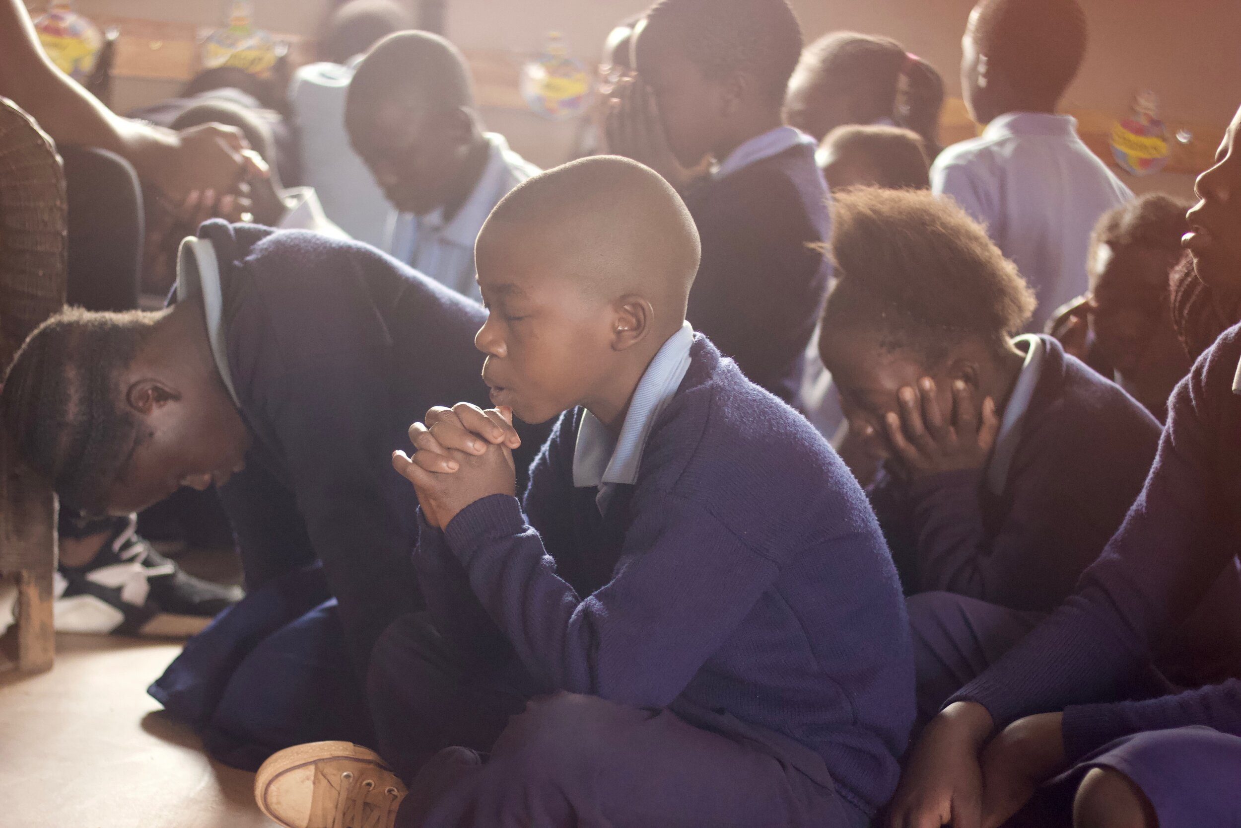 The first thing classes do is spend personal time with God. Students and teachers read a devotion, strengthening their relationship with Christ. Then, they share prayer requests and praises. Before moving on to other subjects, they talk to their Father - thanking Him, praising Him, and praying to Him!