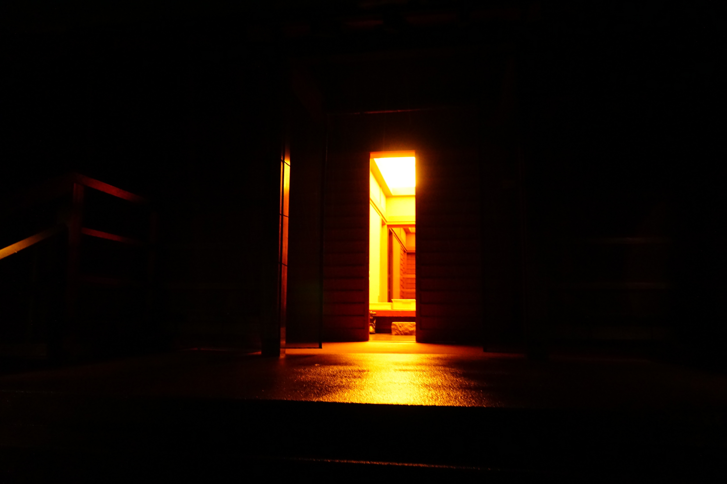 Front door at night. James Turrell, House of Light.
