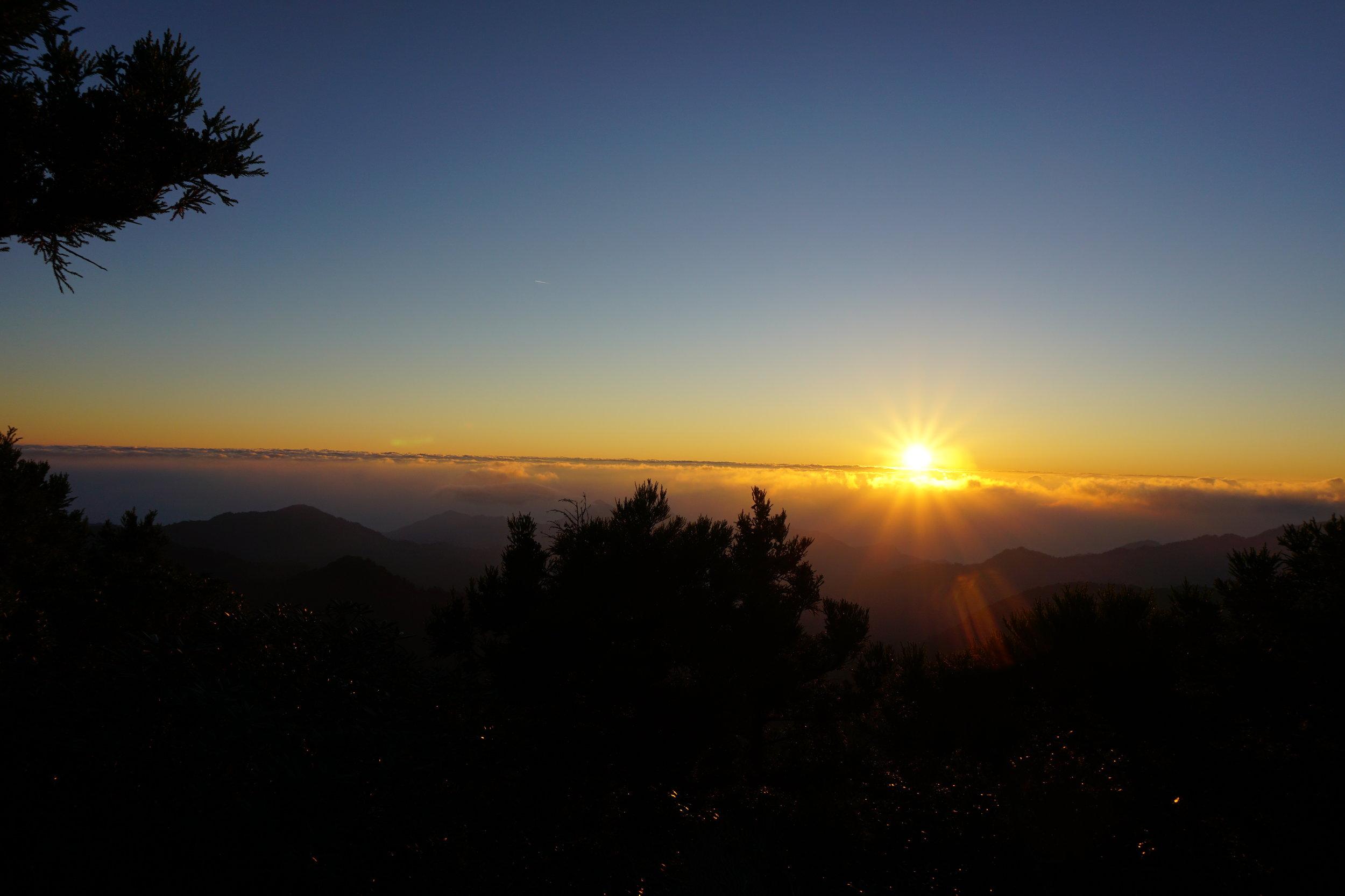Sunrise on the second day of the Miyanouradake hike!