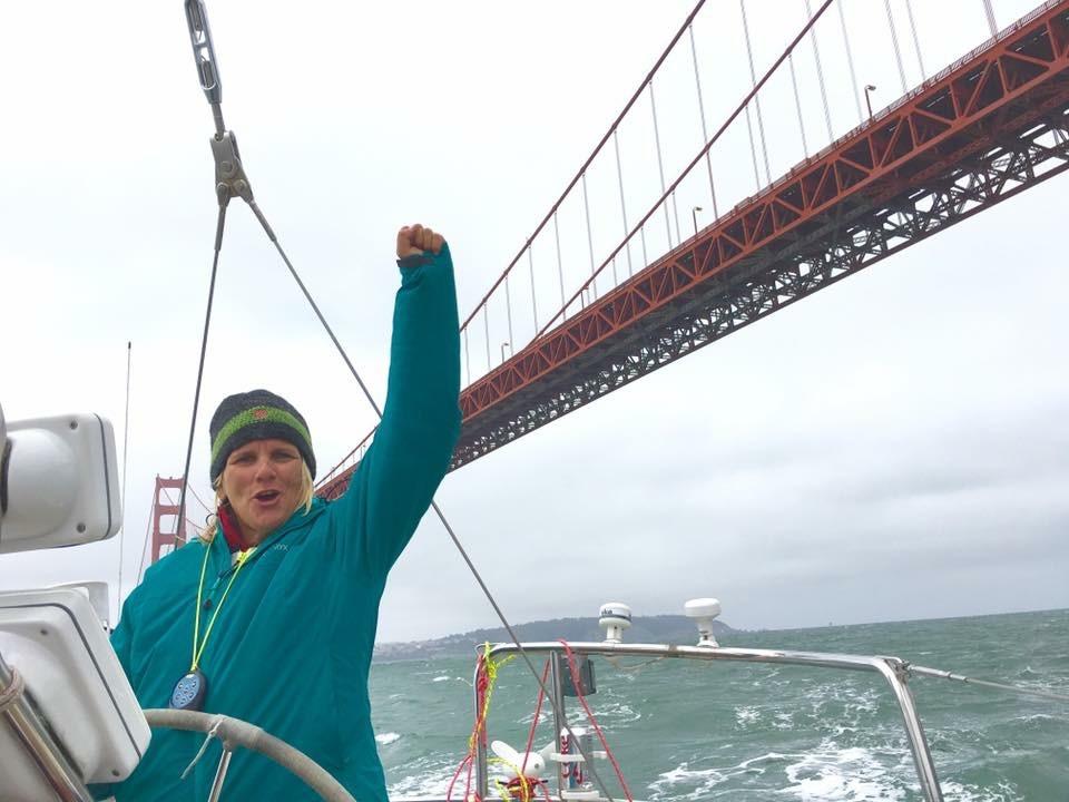 arriving under the Golden Gate Bridge!