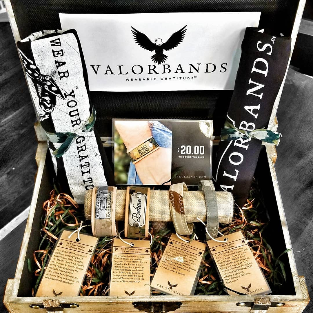 VALORBANDS - ValorBANDS™ are wearable gratitude for both women and men. They are handcrafted bracelets and wrist cuffs made from authentic, donated military uniforms. Every ValorBAND™ comes with the story of its uniform donor so that his or her service lives on long after he or she retires their boots. 10% of all sales help found Medals of Honor, a Franklin-based, national military nonprofit. ValorBANDS™ is a Combat Veteran and Military Family owned business.