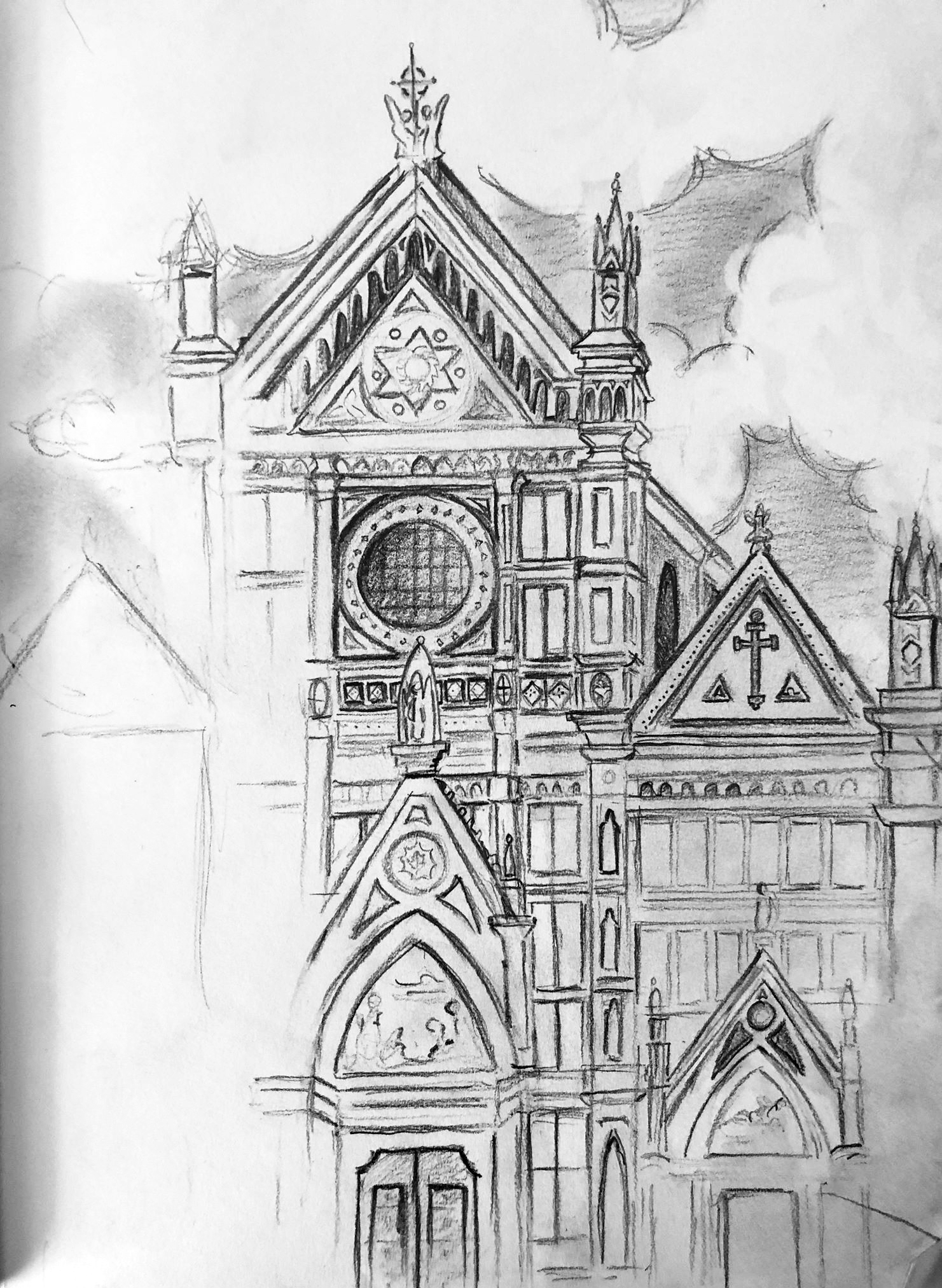 Unfinished Sketch Basilica of Santa Croce in Florence