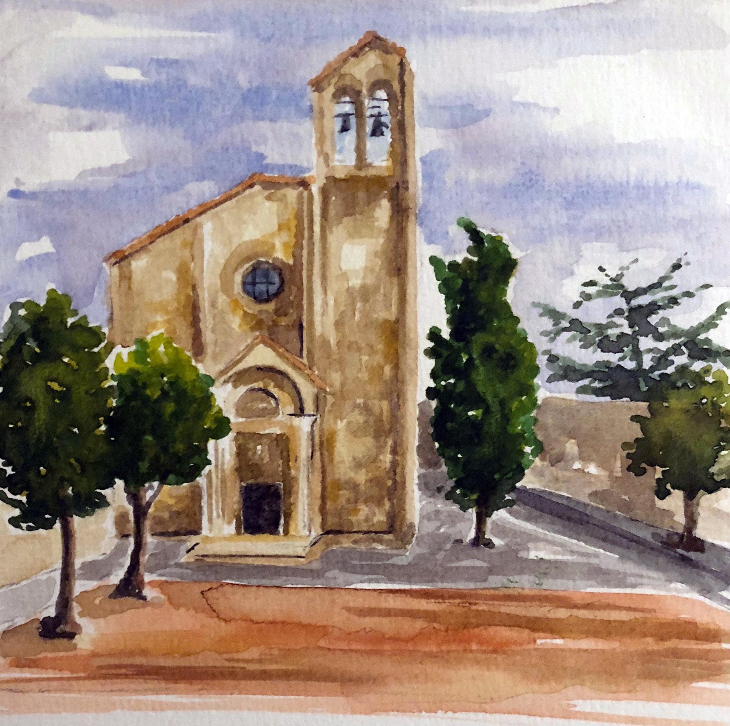 Chiesa san Domenico in Arezzo Watercolour