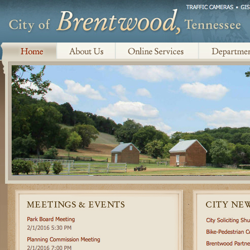 City of Brentwood   Welcome to the City of Brentwood's website.  Provides links to basic information about Brentwood.   https://brentwood-tn.org/