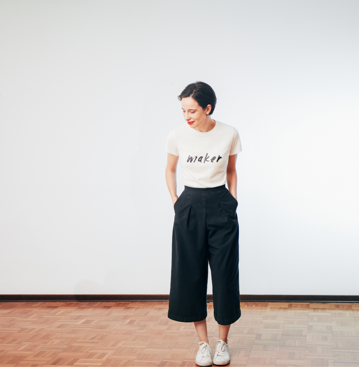 :::: t-shirt in recycled Lacoste pique and tweaked Galleria culottes in vintage plain weave cotton fabric :: t-shirt in tessuto Lacoste riciclato  e Galleria culottes in tela vintage di cotone::::