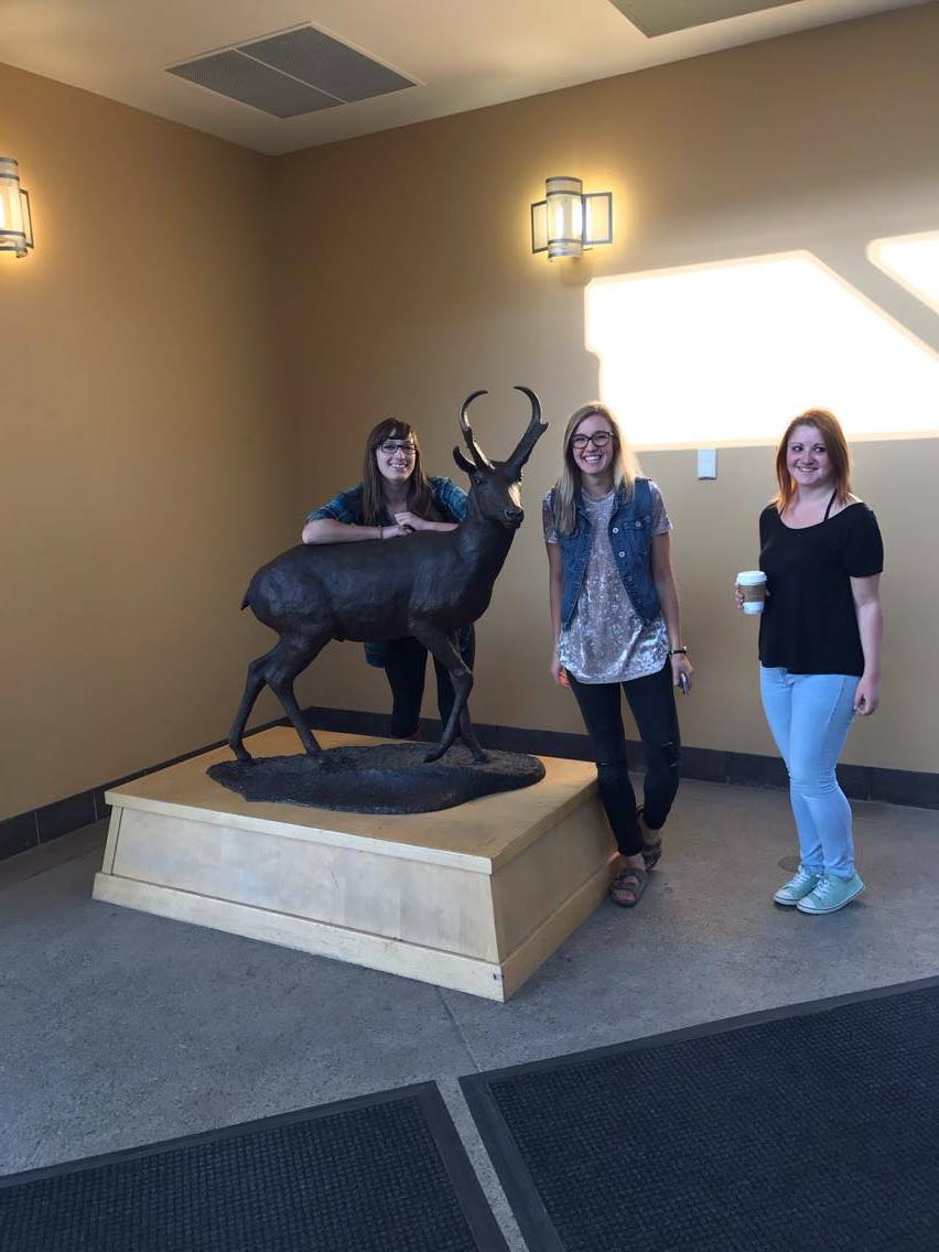Kaleigh (left), Reanne (middle), and Emily (right), posing proudly next to our lovely mascot. Still waiting to spot a real-life pronghorn on campus!