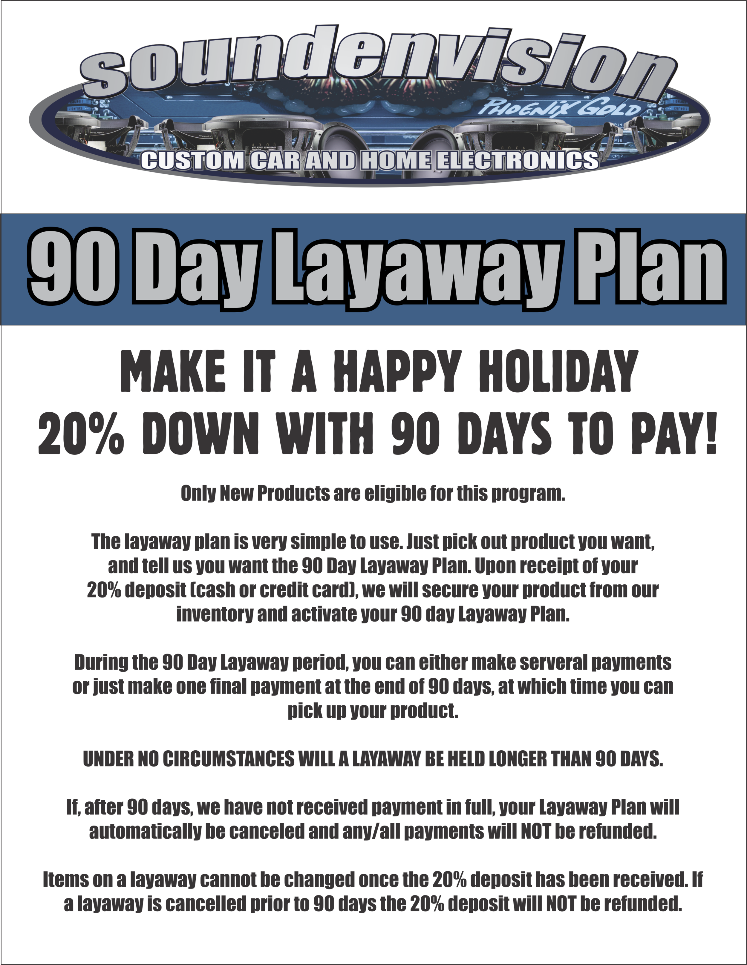 SOUNDENVISION 90 DAY LAYAWAY