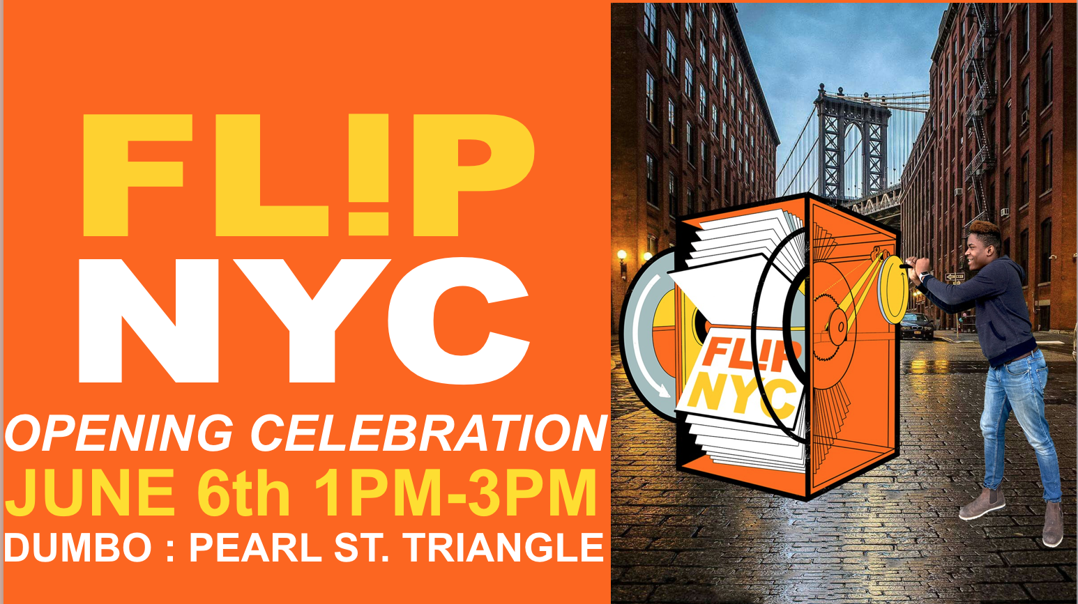 The big day for the  NYC Beam Project  is here! Join us to celebrate FlipNYC at the Pearl Street Triangle in DUMBO. Up-to-date details and photos on our  Facebook event page  and follow us on Instagram  @beamcenter