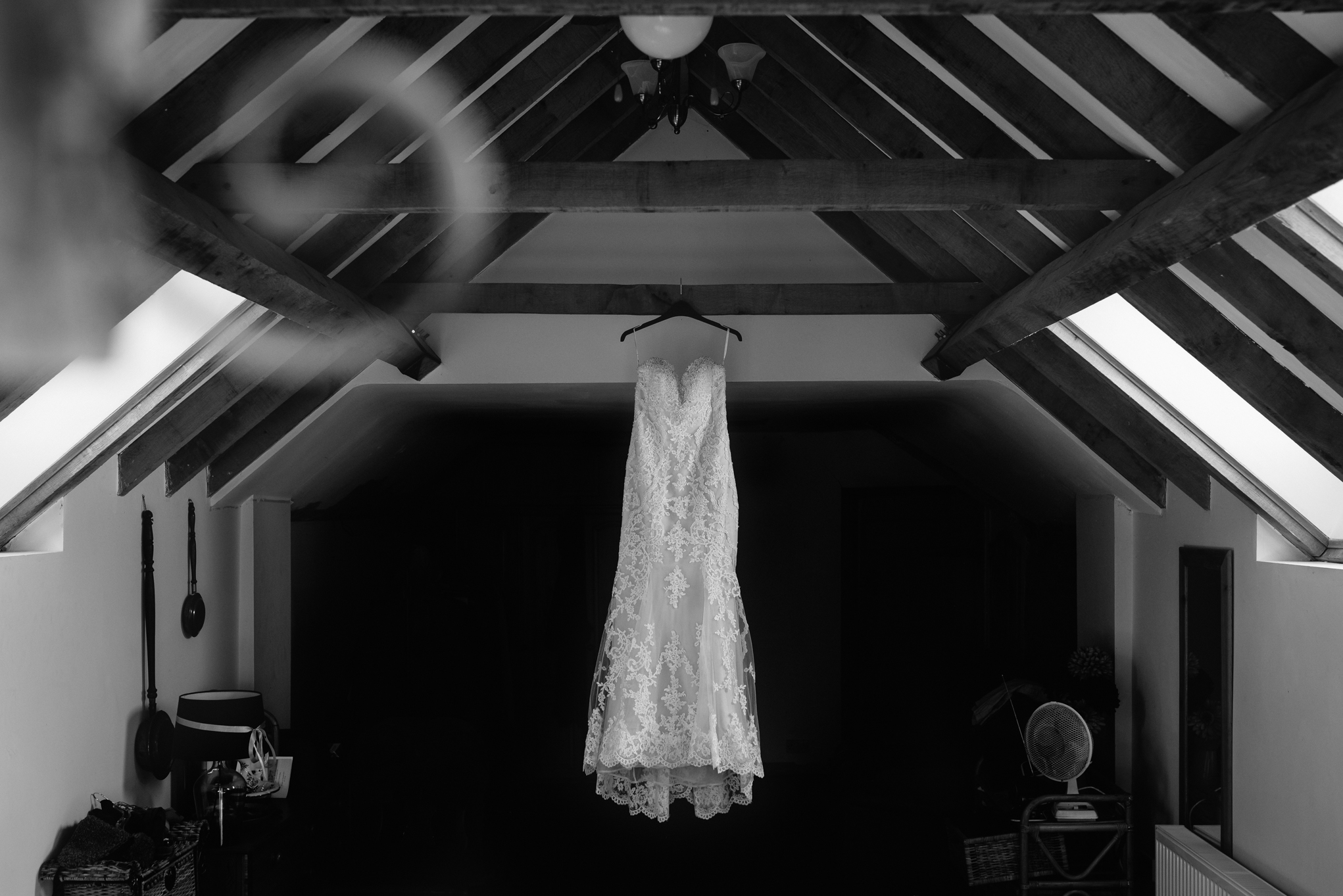 Wedding dress hanging up - Wedding Photography