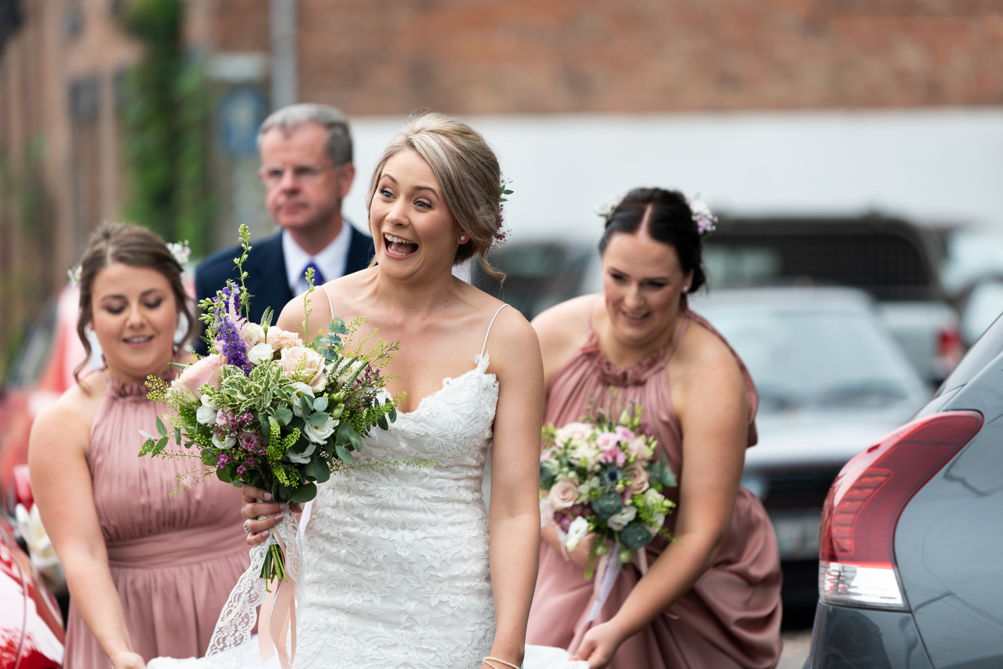 Bride arriving at Llanidloes church - Powys Wedding Photography