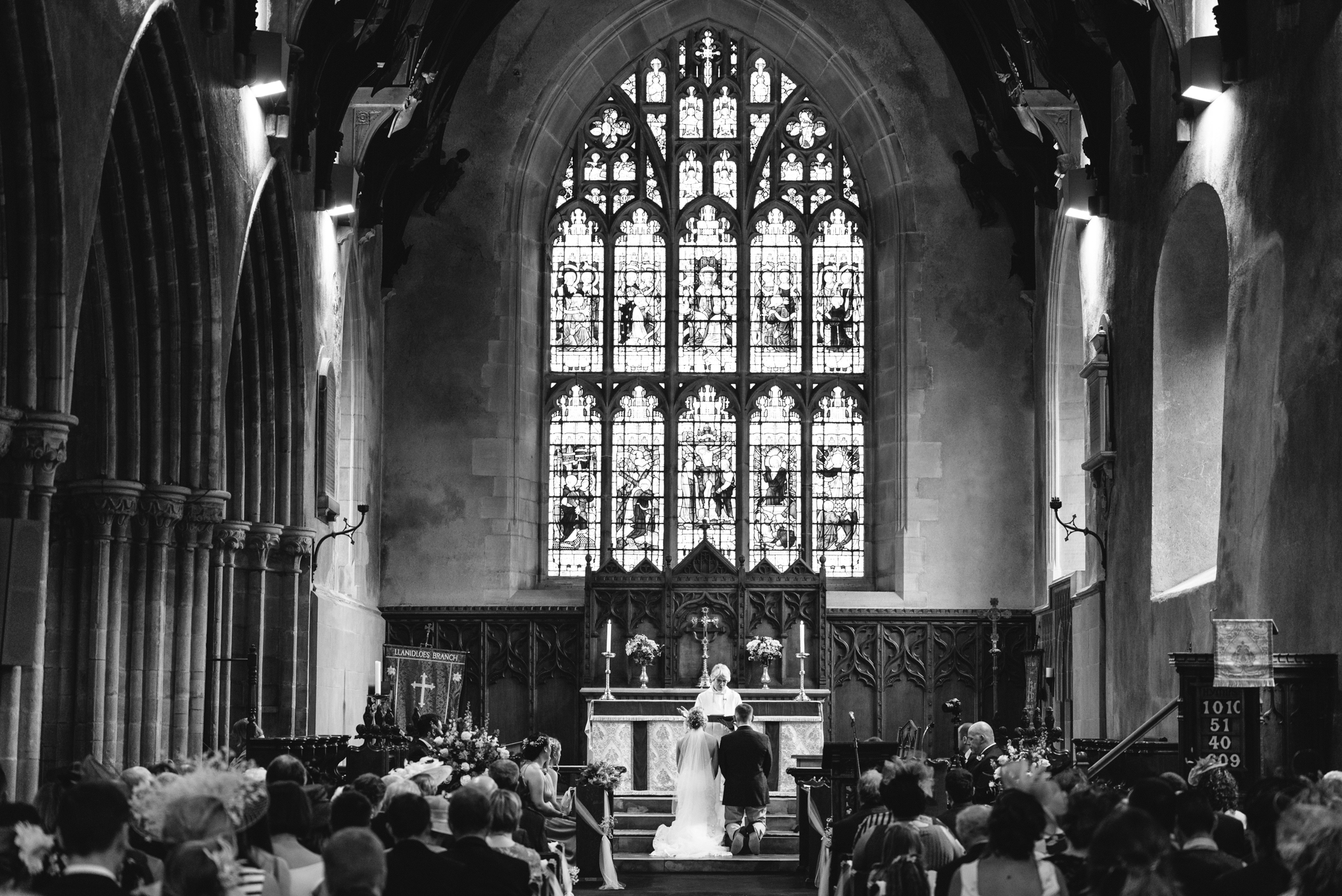Bride and groom in church - Powys Wedding Photography