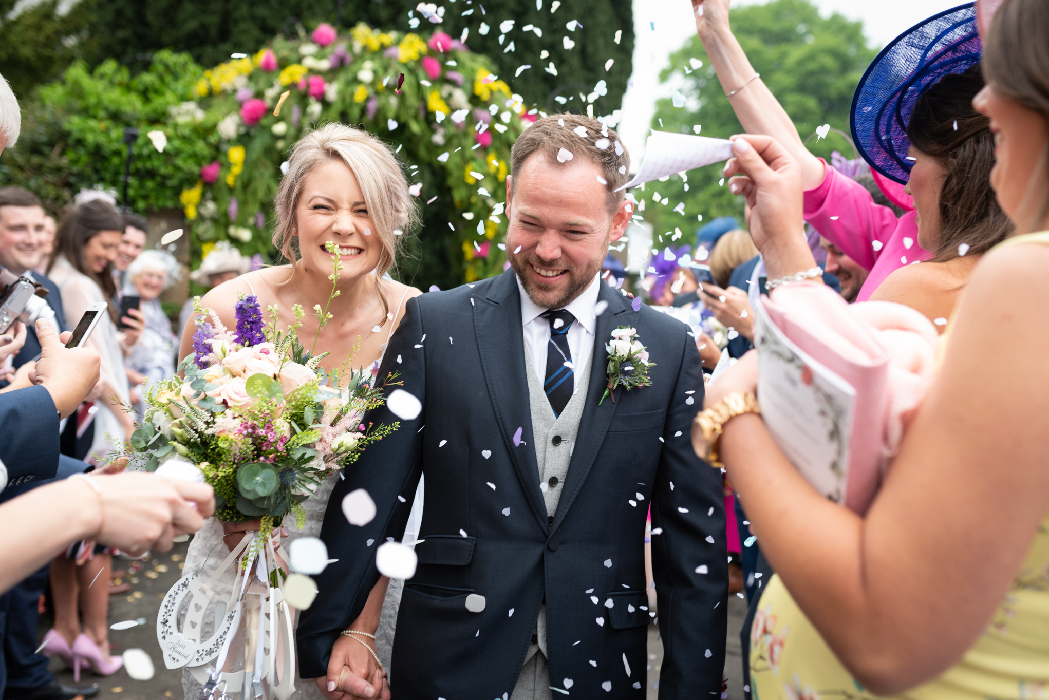 bride and groom confetti - Powys Wedding Photography