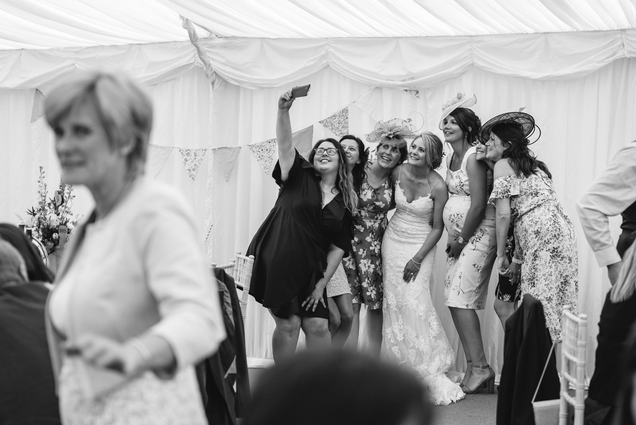 Wedding guests taking selfie - Powys Wedding Photography