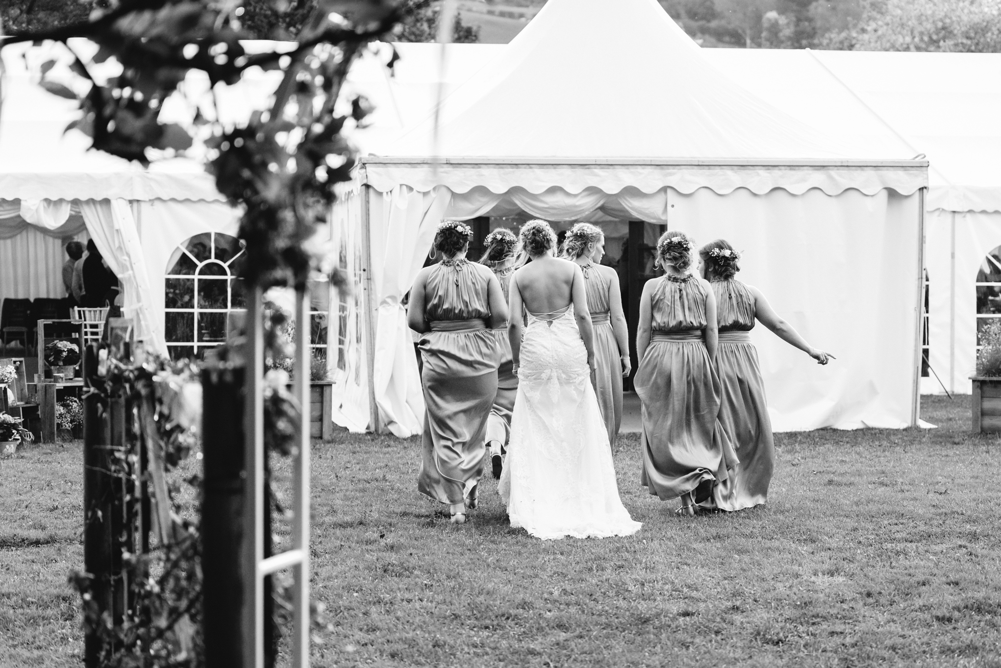 Bride and bridesmaids - Powys Wedding Photography