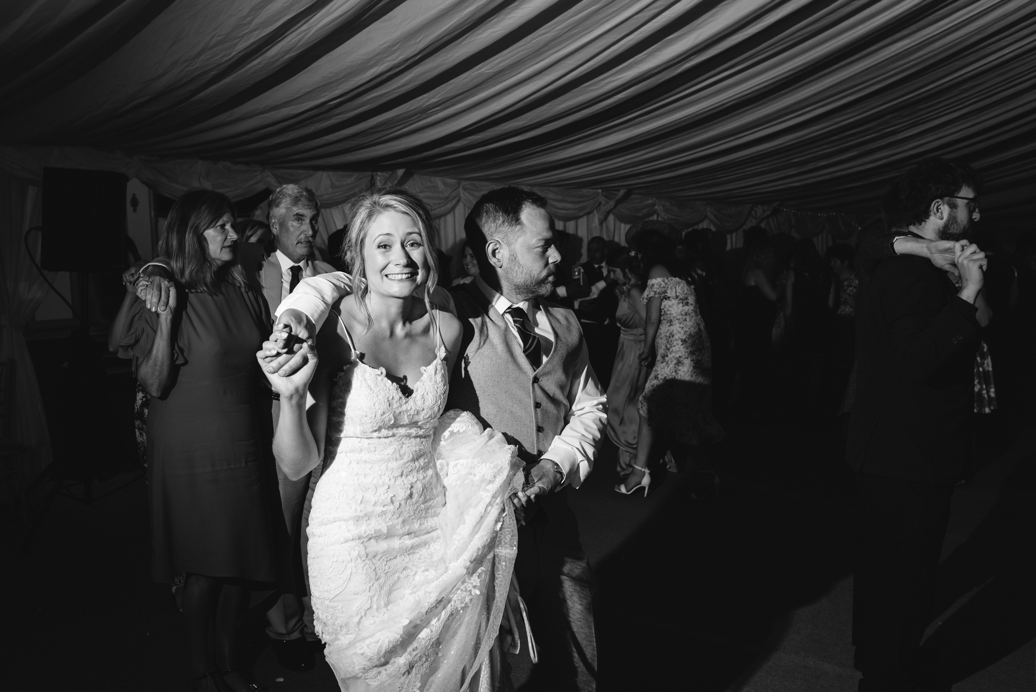 Bride and groom Ceilidh dance - Powys Wedding Photography