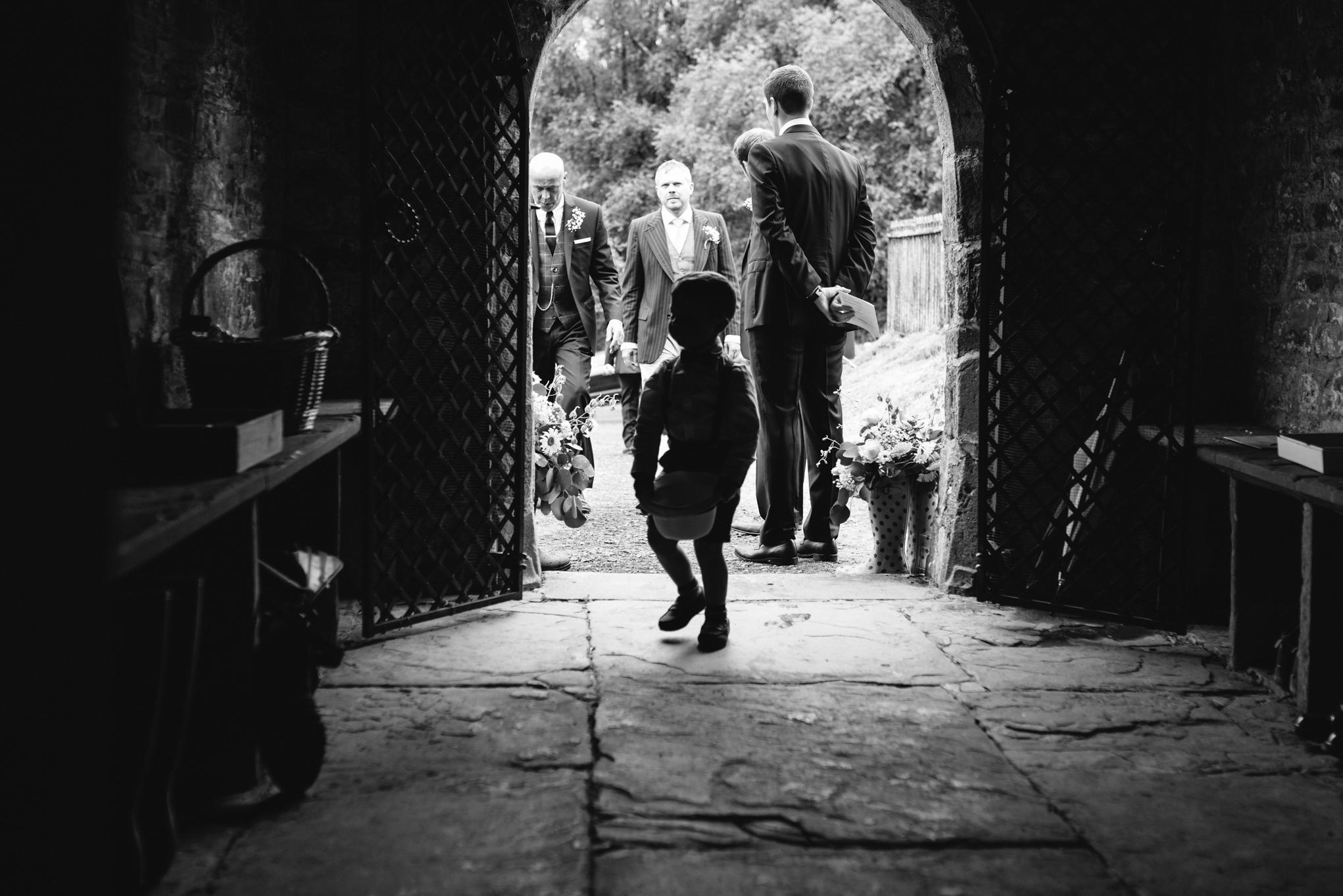 Wedding church entrance - Powys Wedding Photography