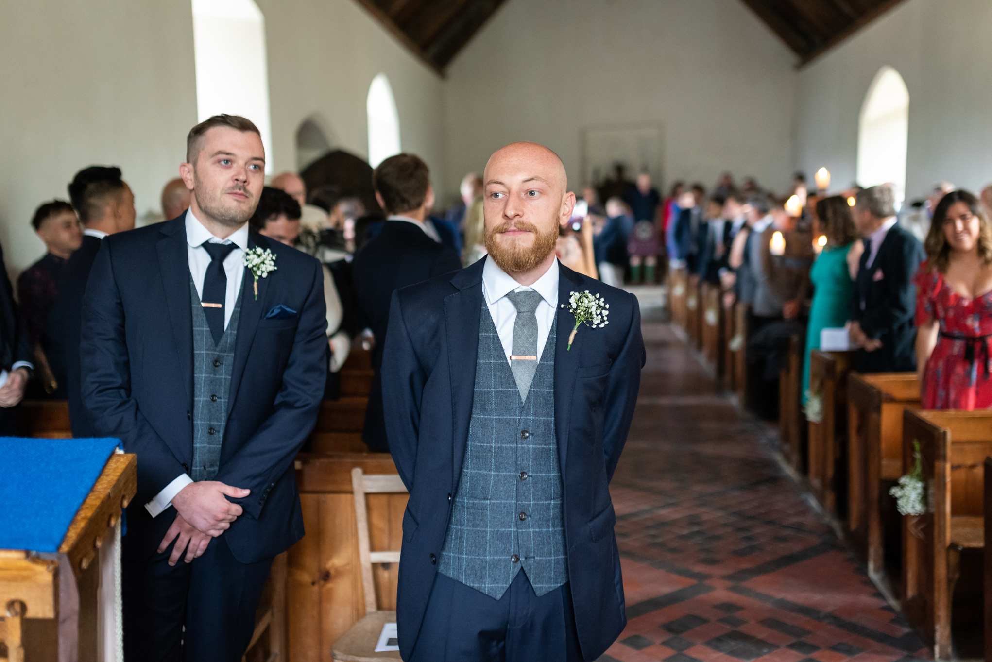 Groom waiting for bride in church - Powys Wedding Photography