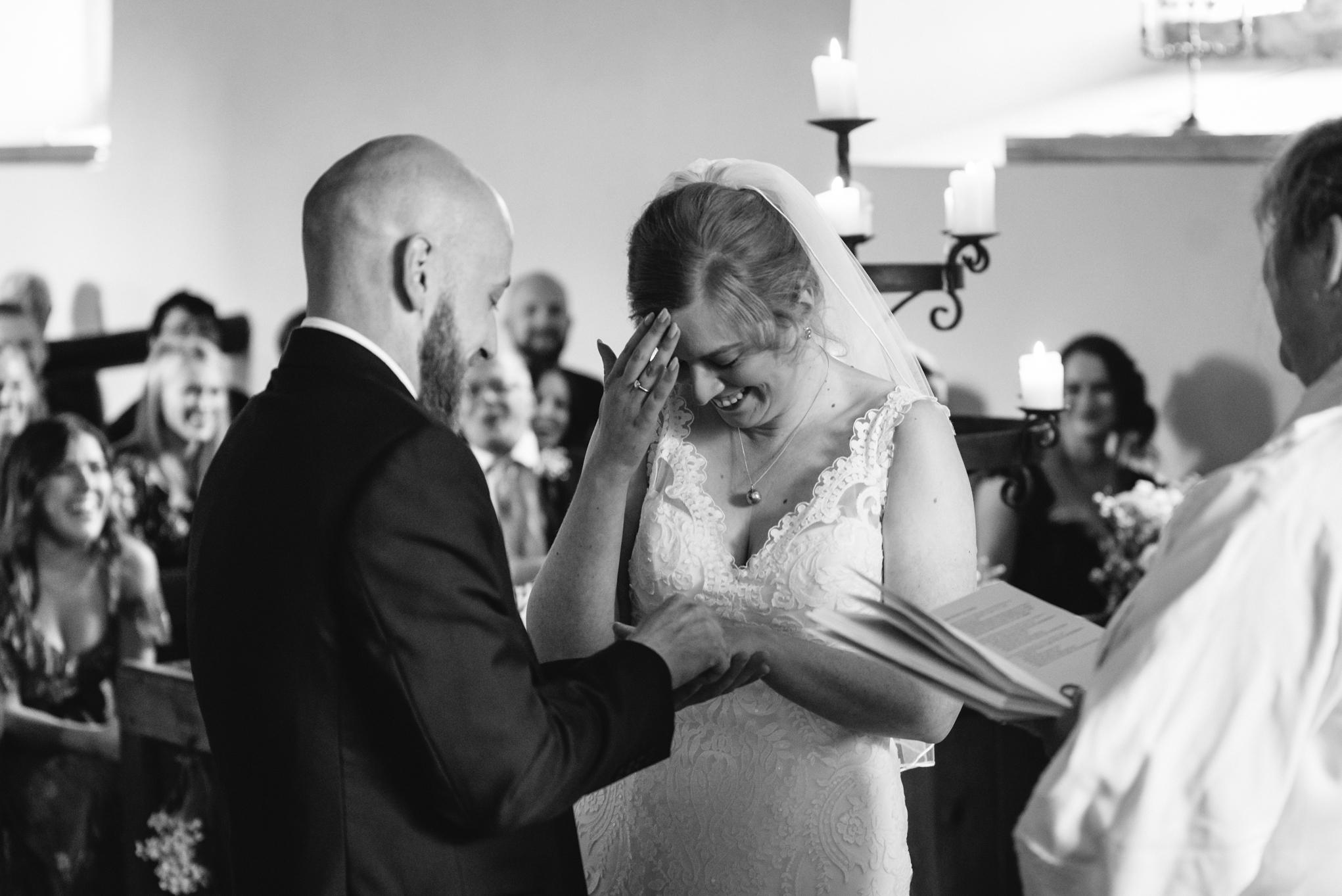 Bride & Groom at altar during wedding - Powys Wedding Photography