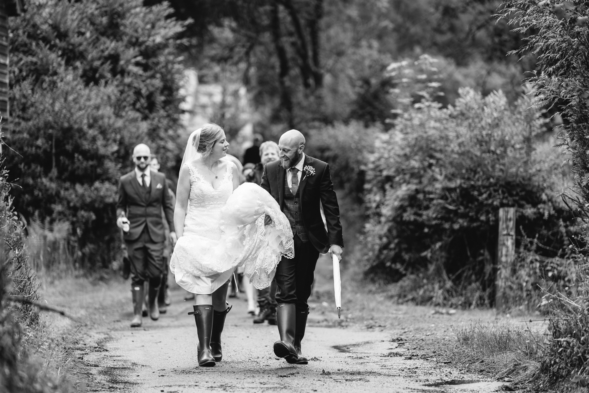 Bride & Groom walking - Powys Wedding Photography