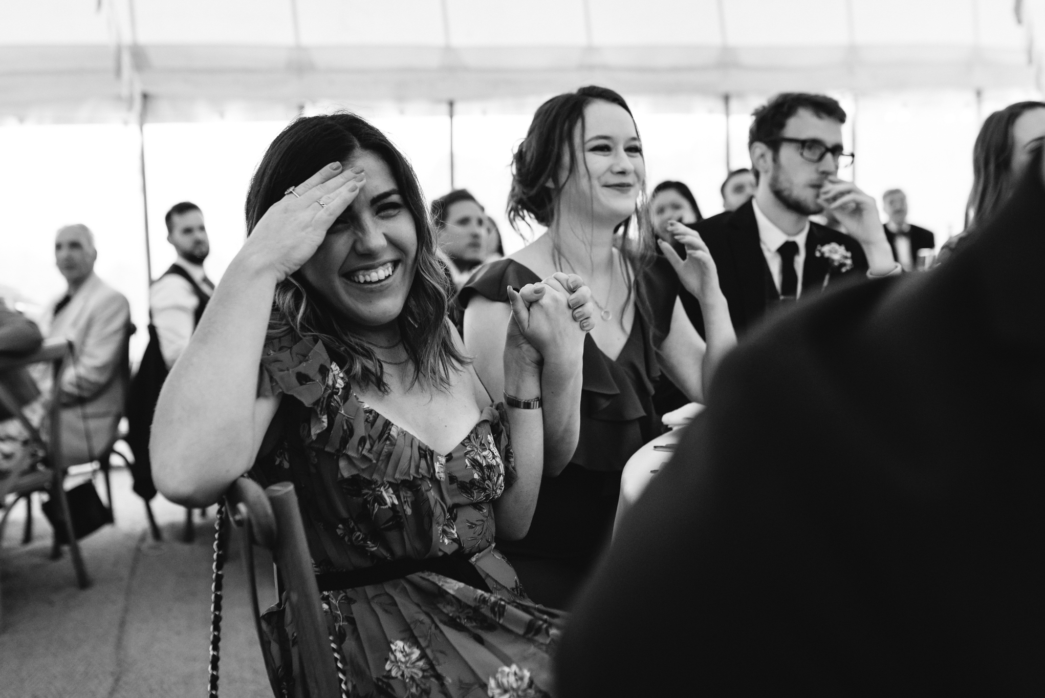 Wedding guests during speech - Powys Wedding Photography