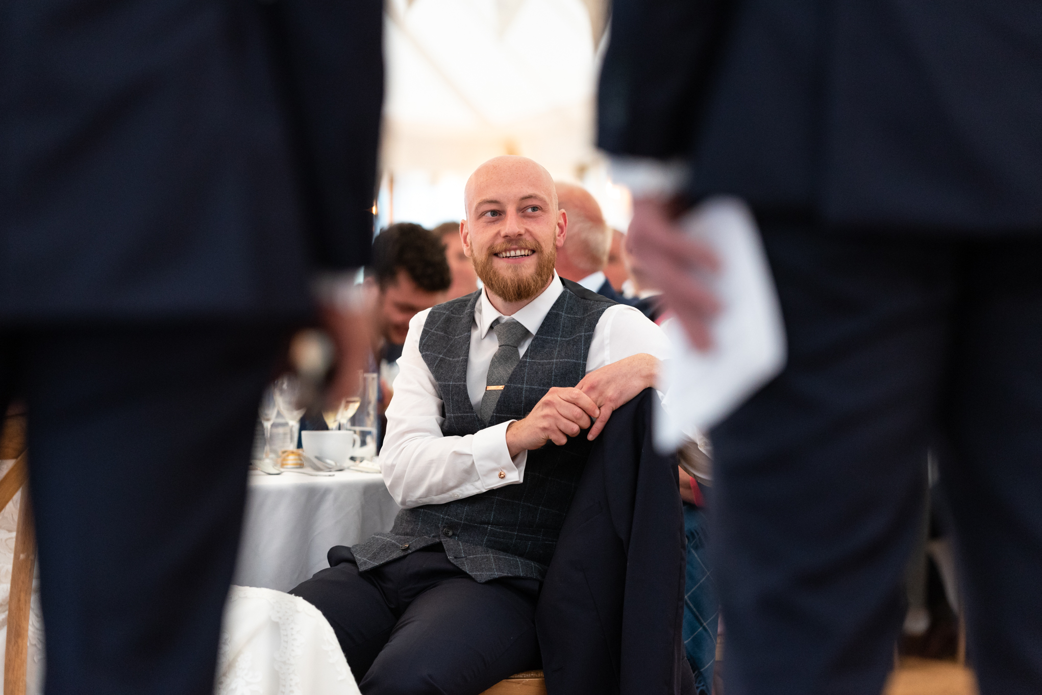 Groom during wedding speech - Powys Wedding Photography