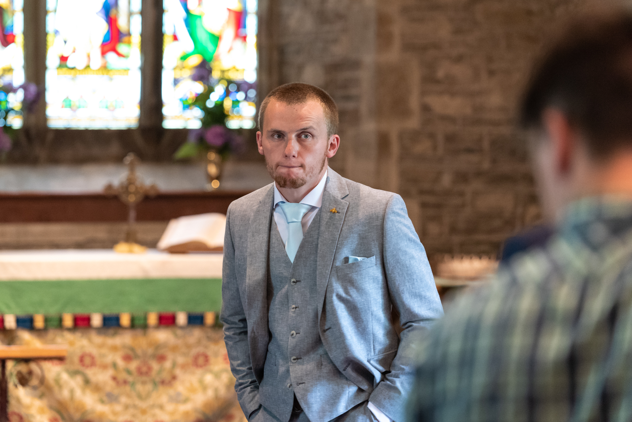 Copy of Nervous Looking Groom at Church