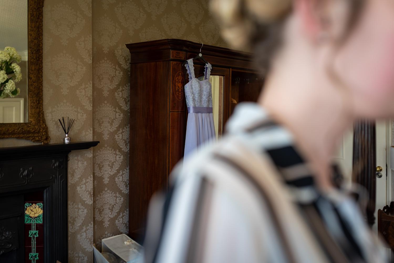 Bridesmaids dress hanging up