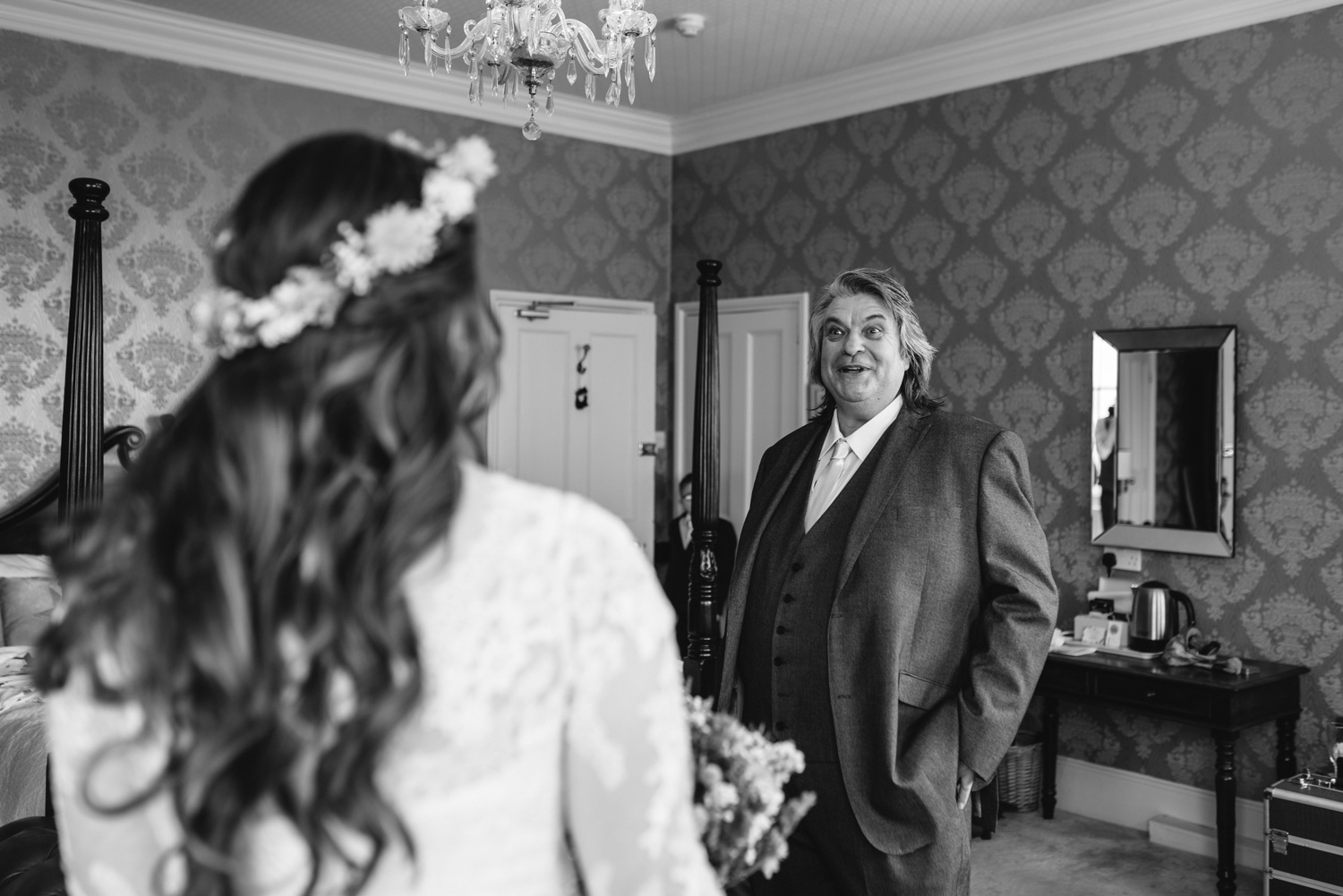 Brides father laughing