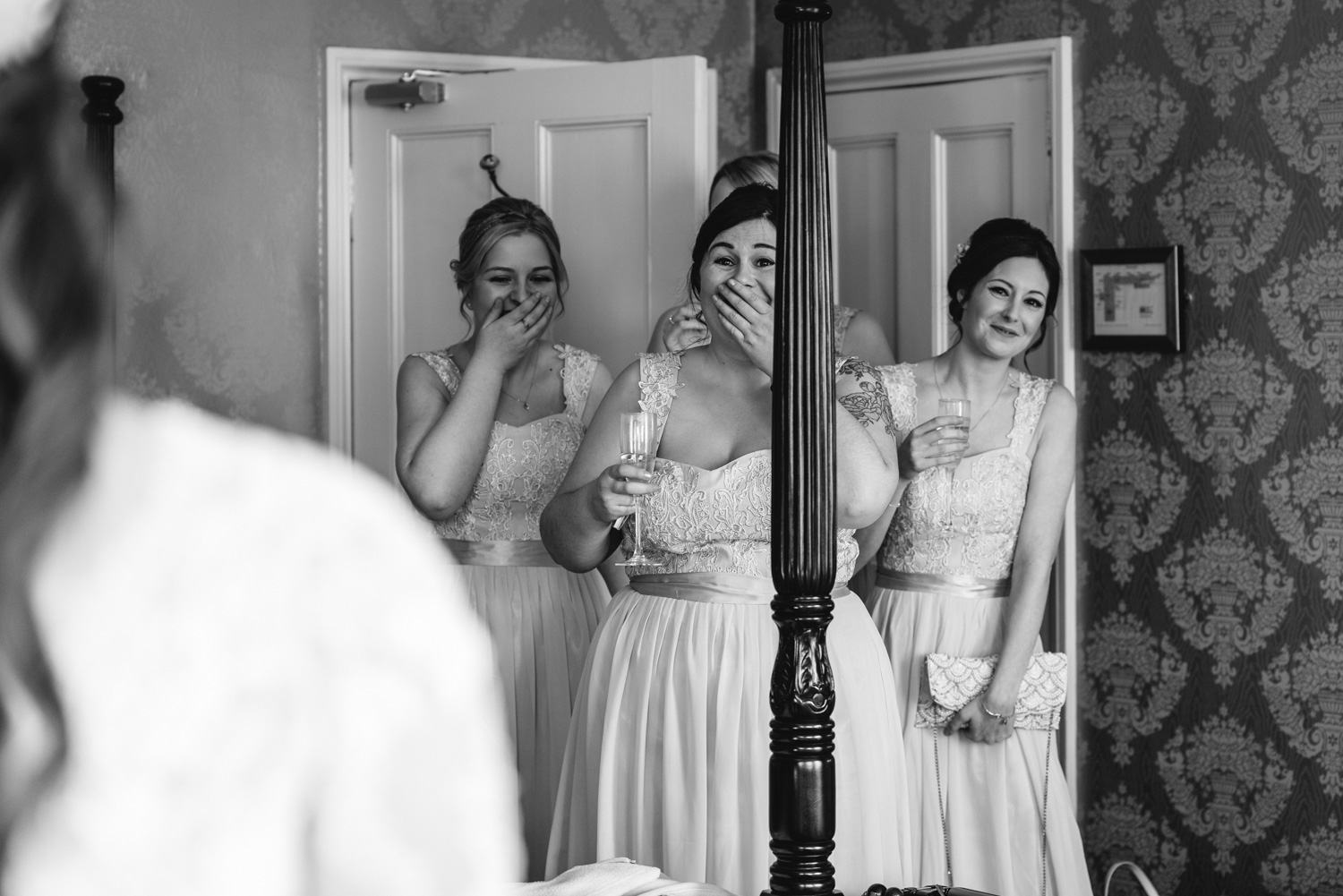 First look at bride by bridesmaids