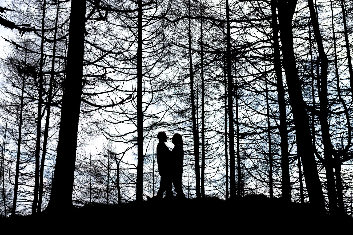 Silhouette of couple during pre-wedding photos