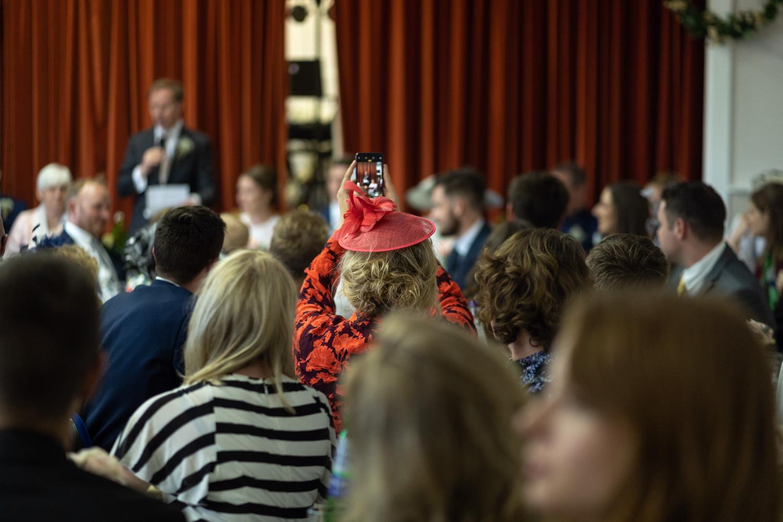 Wedding speeches being filmed